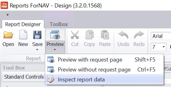 Inspecting the dataset when running ForNAV reports - ForNAV